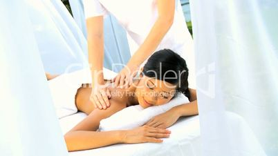 Beautiful Asian Chinese Girl Relaxing with Massage