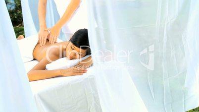 Beautiful Asian Girl Relaxing with Massage