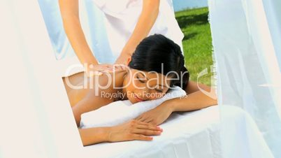 Luxury Spa Client Enjoying Massage Therapy