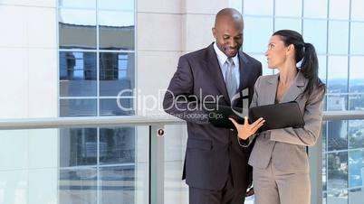 Smart Business Executives with Work Portfolios