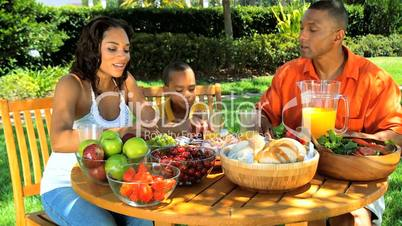 Young Ethnic Family Sharing a Healthy Lunch Outdoors