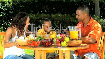 Young Ethnic Family Healthy Lunch in the Garden