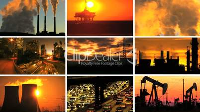 Montage Contrasting Effect of Clean Power & Fossil Fuel Pollution
