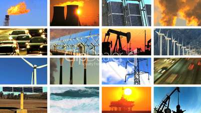 Montage of Clean Energy & Fossil Fuel Pollution