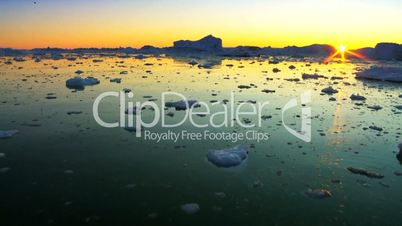 Arctic Sunset over Floating Ice Floes