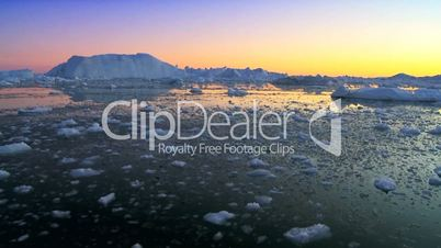 Dusk Over Frozen Arctic Glacial Ice