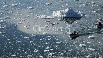 Small Craft Between Ice Floes & Icebergs Arctic Region