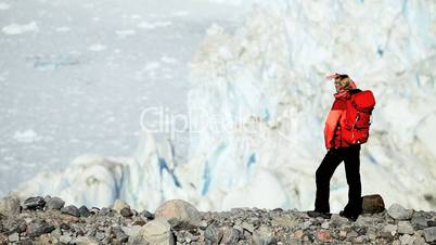 Young Female Hiking in an Arctic Landscape