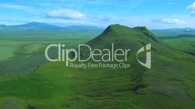 Aerial view of dormant volcanoes and rich fertile land, Iceland