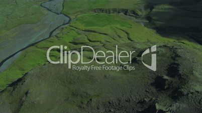Aerial view of the rich fertile plains with the active Eyjafjallajokull, Iceland