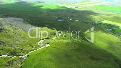 Aerial view of a large waterfall, Iceland, Arctic region
