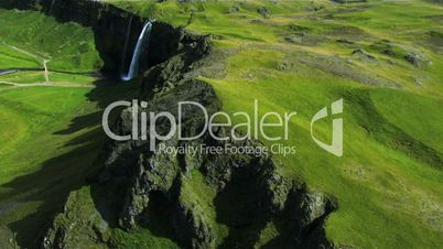 Aerial View of a plateau waterfall in Iceland