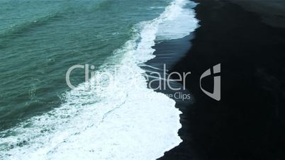 Aerial View Over Black Volcanic Ash Beach, Iceland