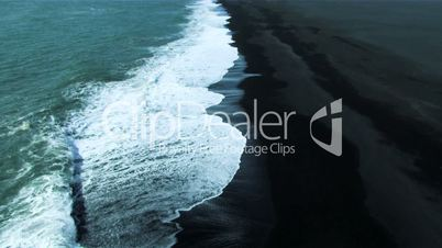 Aerial View of Black Volcanic Ash Beach in Iceland