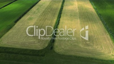Aerial of rich fertile agricultural land, Arctic region