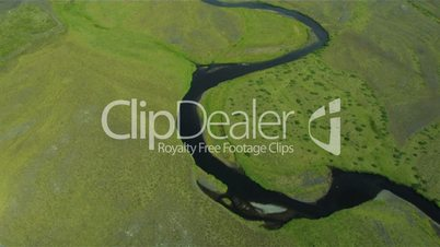 Aerial View of Fertile Land with Meltwater, Iceland