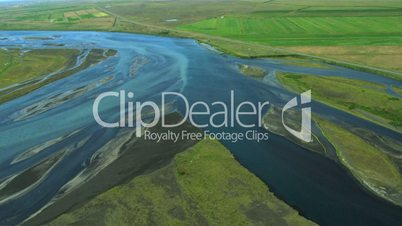 Aerial View of Agricultural Land and Meltwater, Iceland