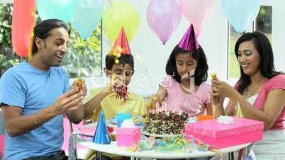 Young Ethnic Girl Enjoying Birthday Celebrations