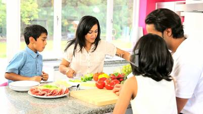 Asian Family Preparing Healthy Lunch