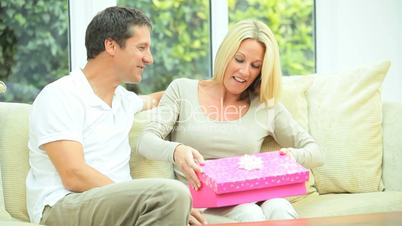 Pretty Blonde Female with Luxury Birthday Gift