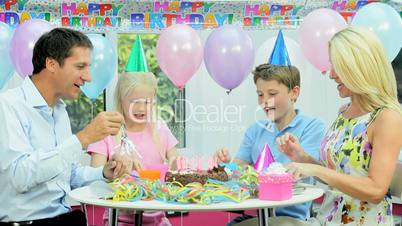 Young Caucasian Girl Enjoying Birthday Celebrations
