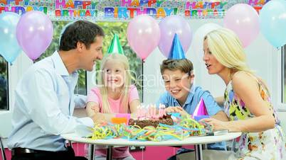 Young Caucasian Birthday Boy at Family Party