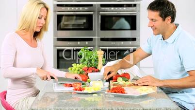 Attractive Couple Preparing Healthy Lunch