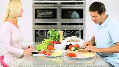 Caucasian Couple Preparing Healthy Lunch