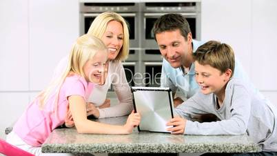 Caucasian Family Using Online Video Chat with Relatives