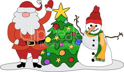 Weihnachtsmann, Christbaum, Schneemann