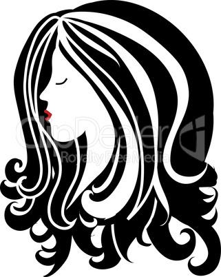 Frauenkopf mit langen Haaren