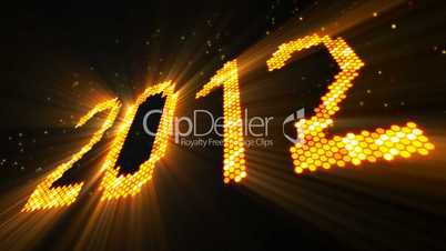 greetings new year 2012 of shining yellow elements loop