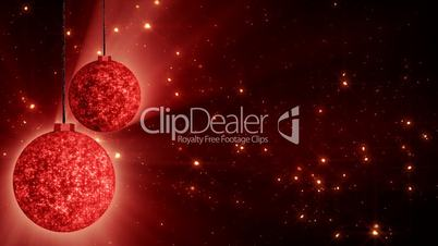 red christmas balls and glitter particles loop