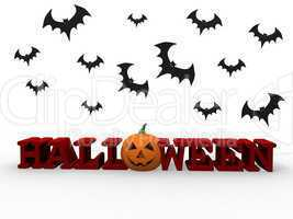 Halloween letters with pumpkin and bats