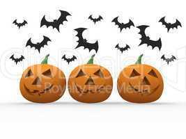 Halloween pumpkin & bats on white background
