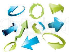 3d arrows, 3d arrow sketchy design elements set