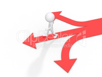 3d man with multiple arrow paths