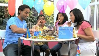 Little Ethnic Boy Enjoying Birthday Celebrations