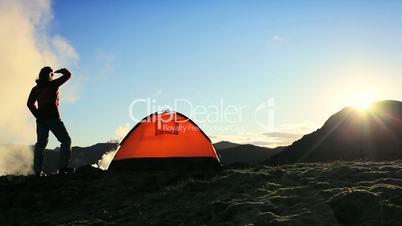 Female Hiker Watching the Sun Rising