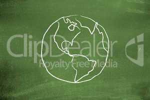 Earth on blackboard