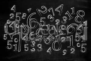 Numbers on blackboard