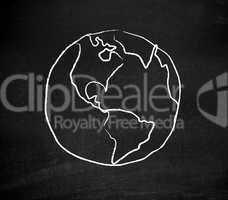 Earth drawn on a blackboard
