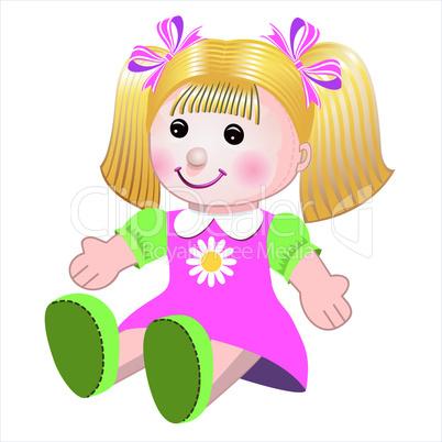Vector illustration of girl doll