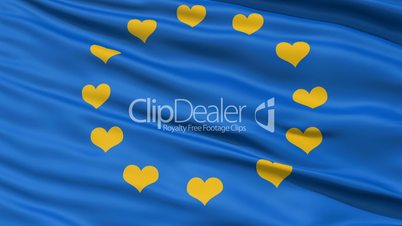 Realistic 3D detailed slow motion Europe love flag in the wind