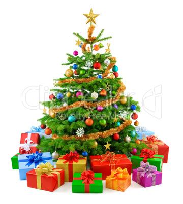 dichter weihnachtsbaum mit bunten geschenken lizenzfreie. Black Bedroom Furniture Sets. Home Design Ideas