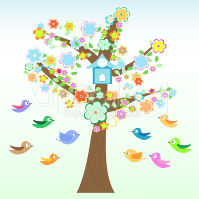 bird and tree with flowers and leaves card Vector