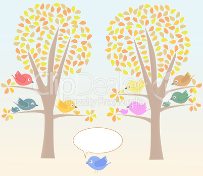 Greeting card with birds under tree vector