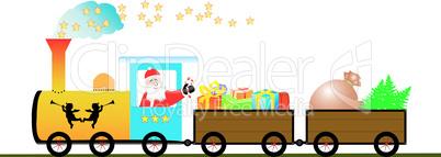 Fröhlicher Nikolaus im Zug mit Weihnachtsbaum und Geschenken Vec