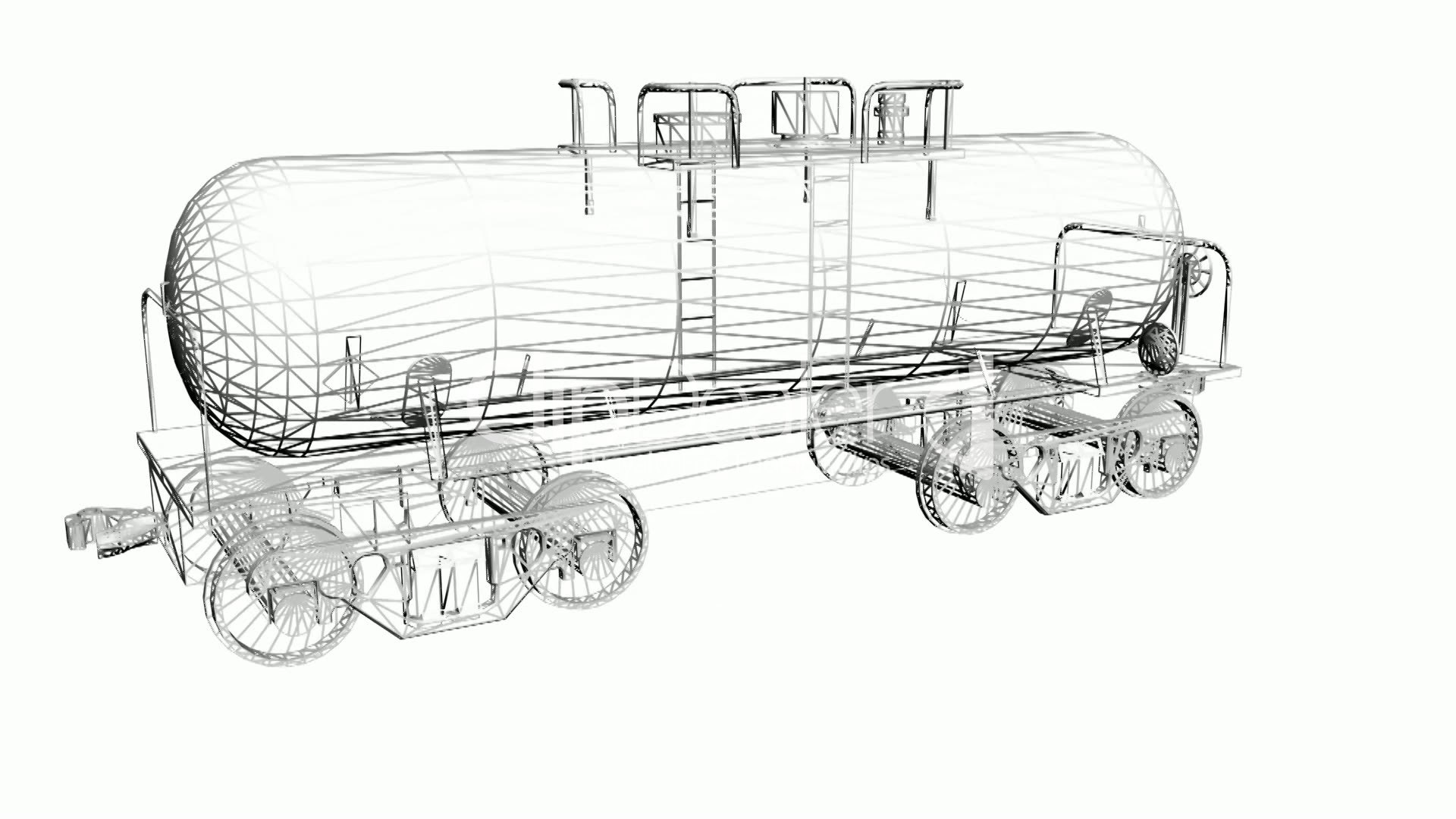 rotation of 3d train tank tanker locomotive oiltank