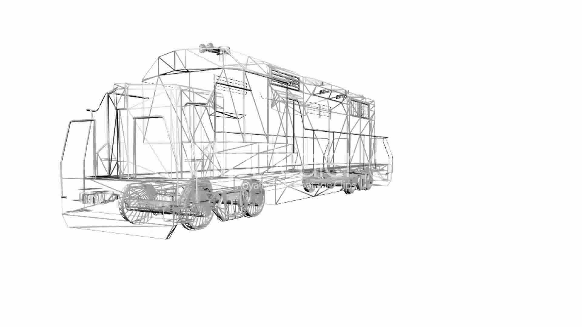 rotation of 3d train locomotive railroad train